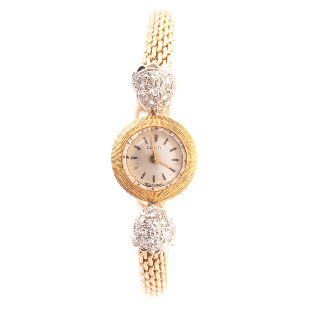 A Ladies Zenith Watch with Diamonds in 14K
