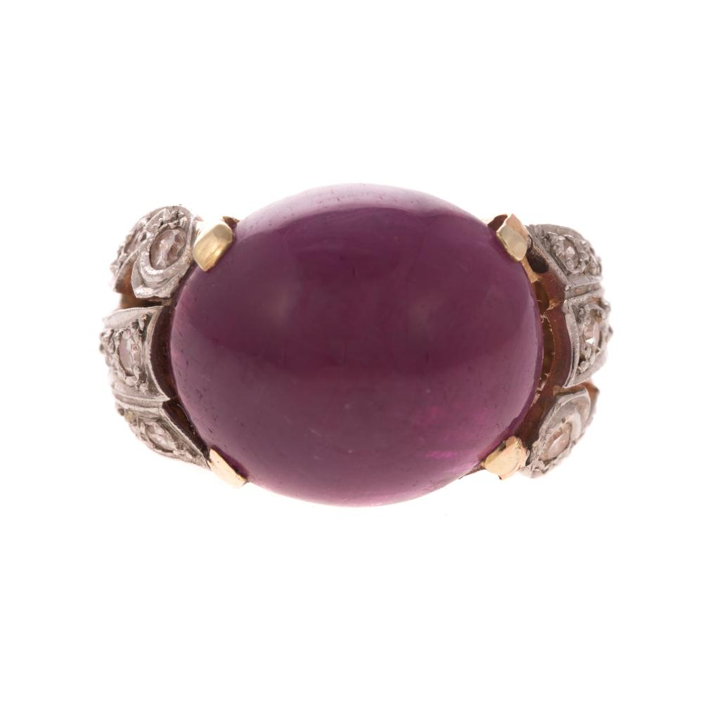 A Ladies Cabochon Ruby & Diamond Ring in Gold
