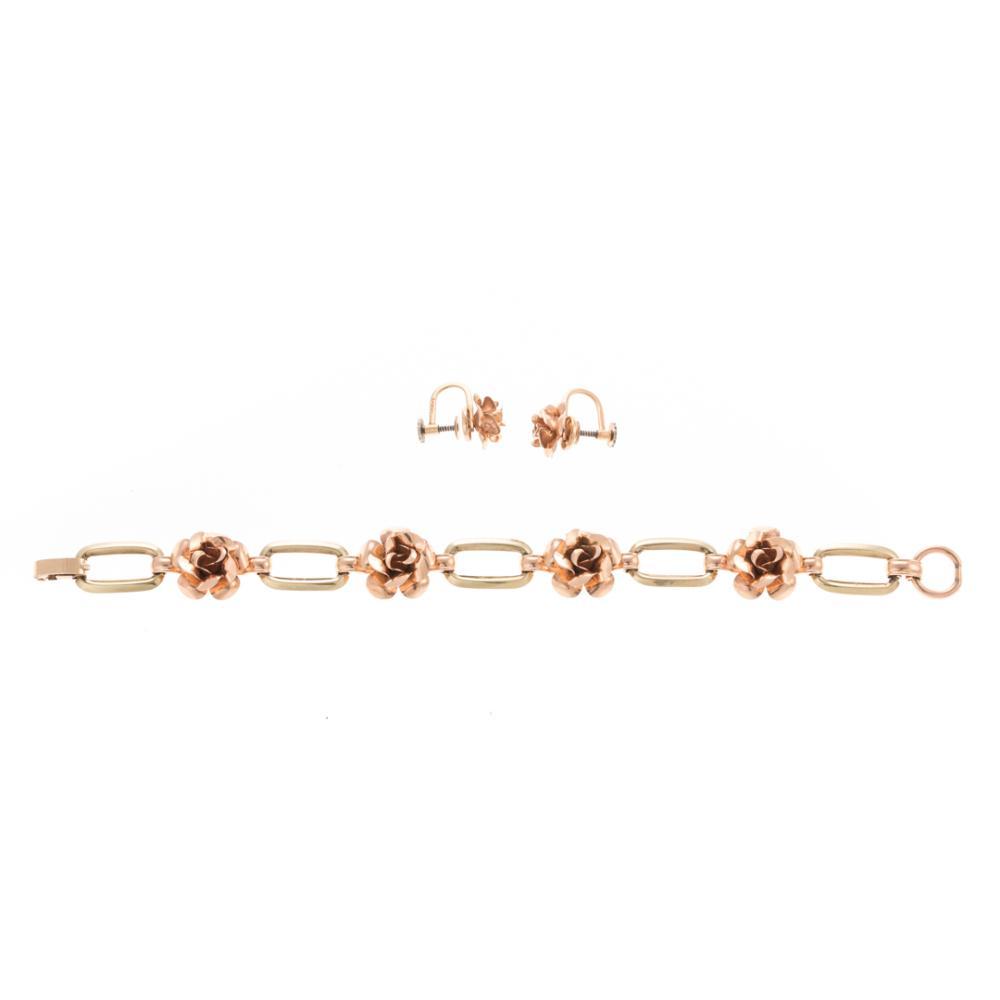 """A Lady's """"Rose"""" Bracelet & Earrings in 14K Gold"""
