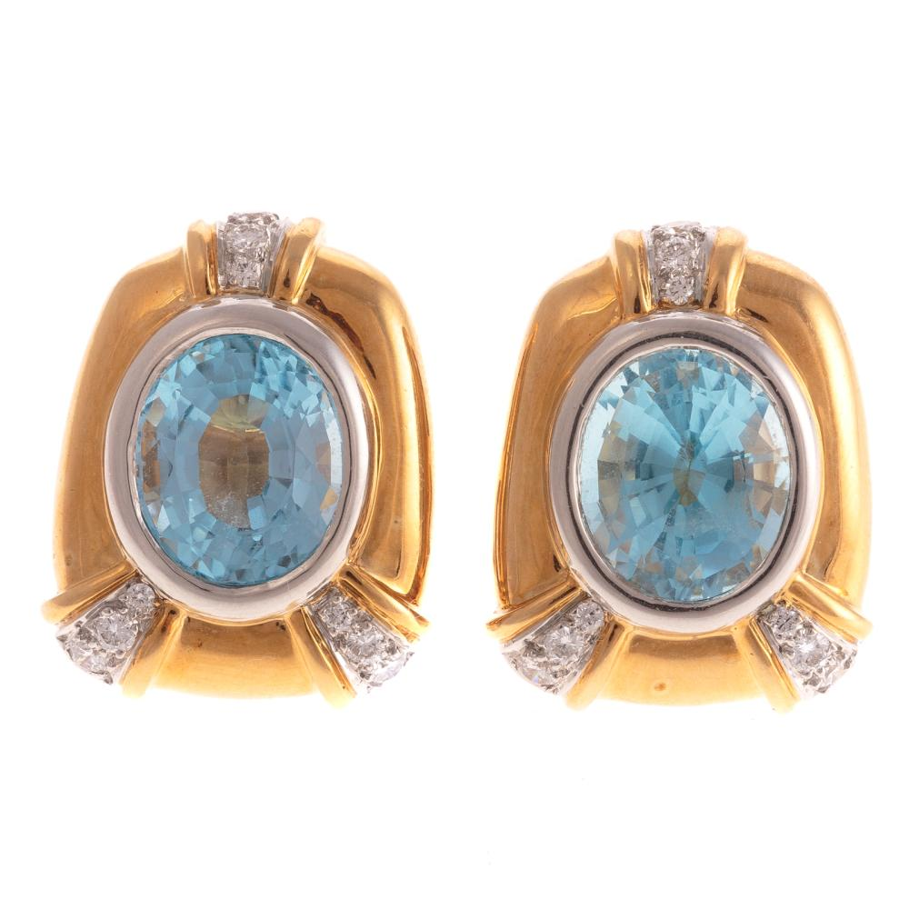 A Pair of Blue Topaz & Diamond Earrings in 18K