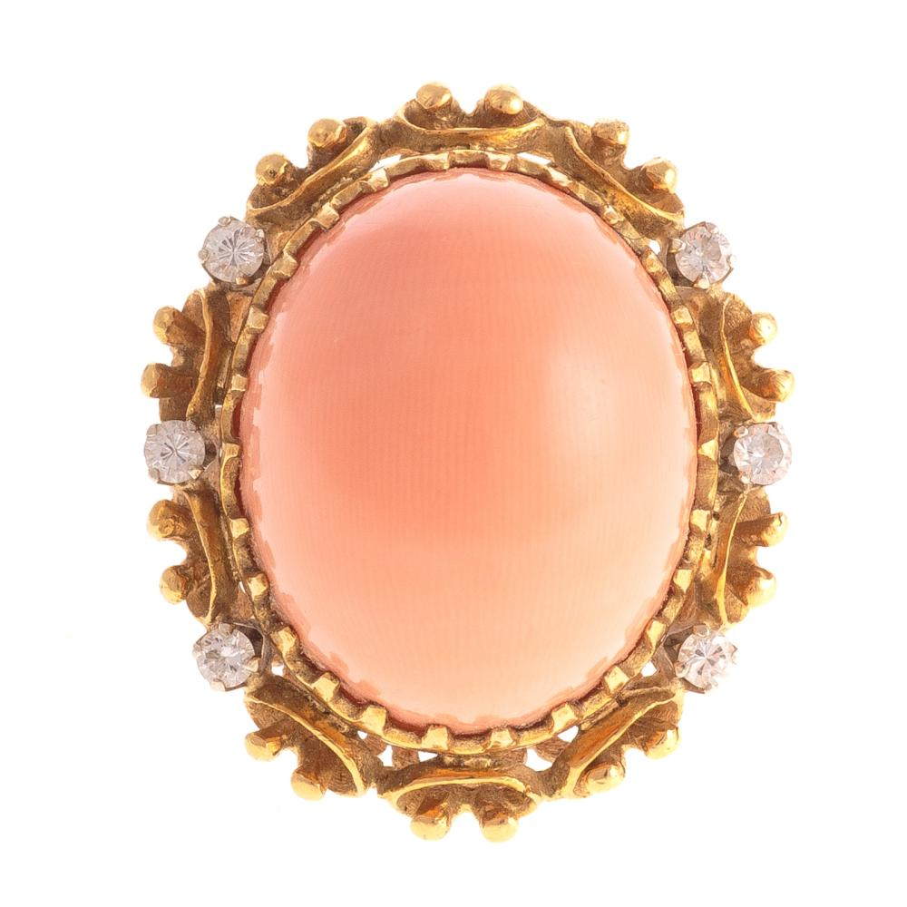 A Ladies Coral and Diamond Ring in 18K