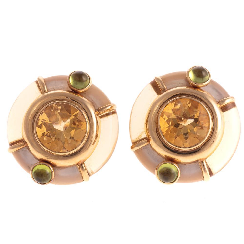 A Pair of Ladies MOP & Citrine Earrings in 14K