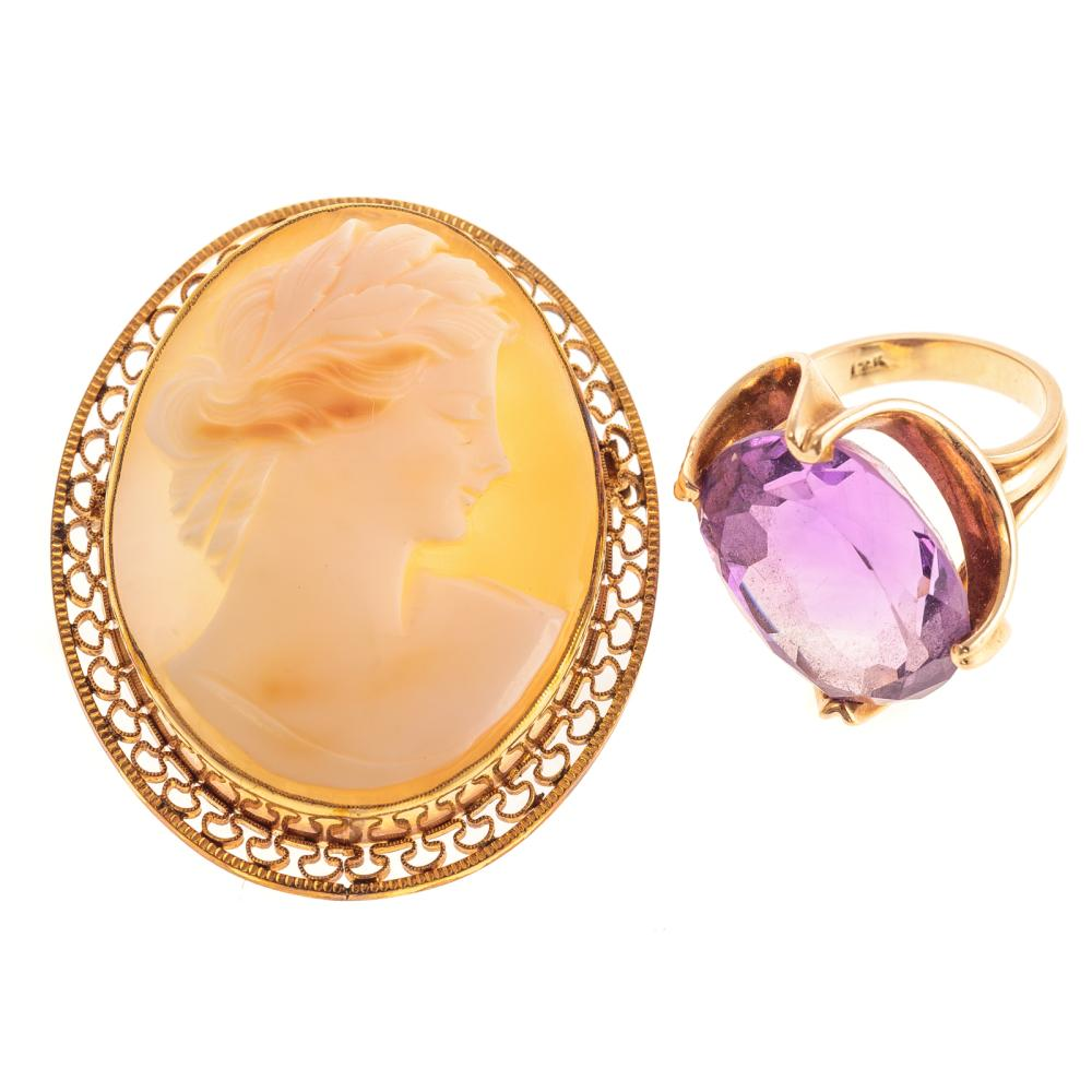 A Ladies Amethyst Ring in 14K & Cameo Pin