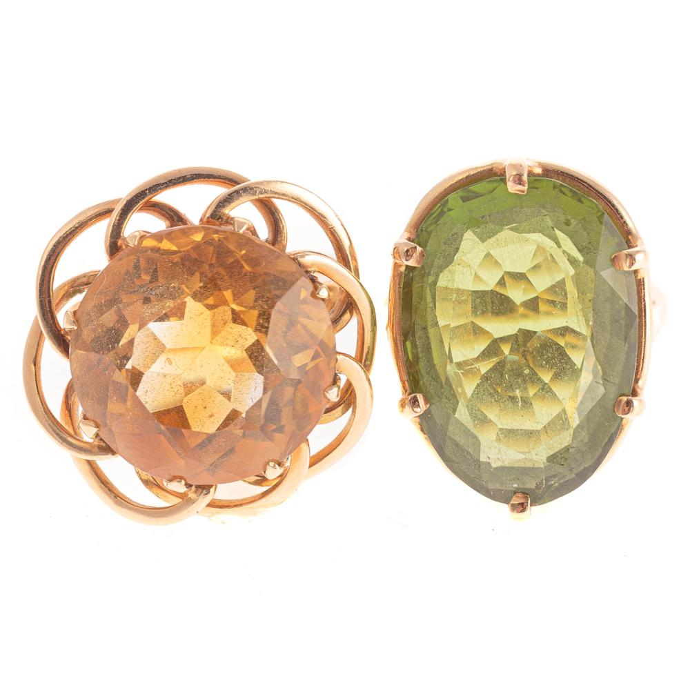 A Ladies 18K Citrine Ring & 14K Peridot Ring