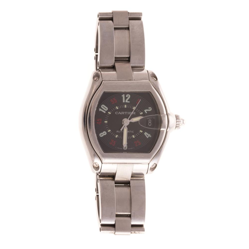 A Cartier Stainless Steel Roadster Wrist Watch