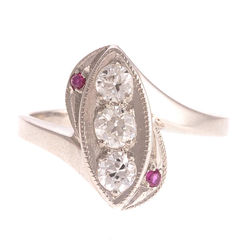 A Ladies Art Deco Diamond & Ruby Ring in Platinum