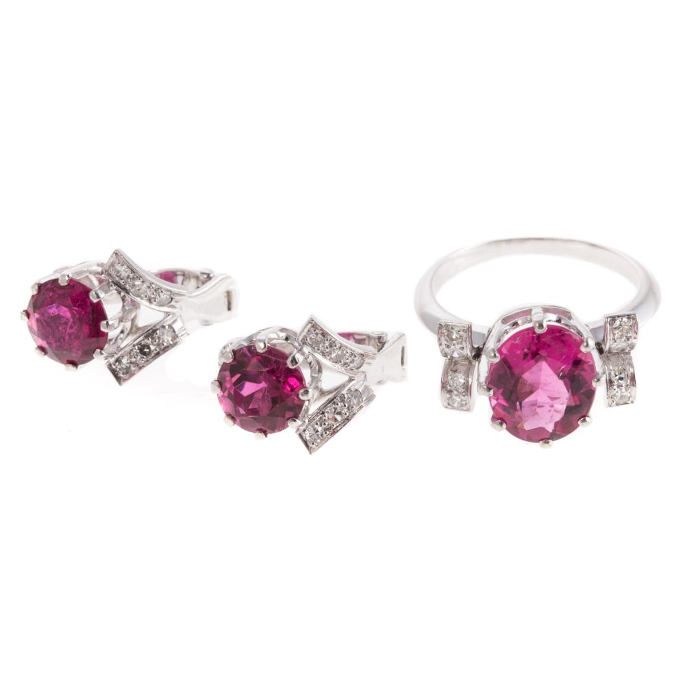 A Rubelite & Diamond Ring and Earrings in Plat