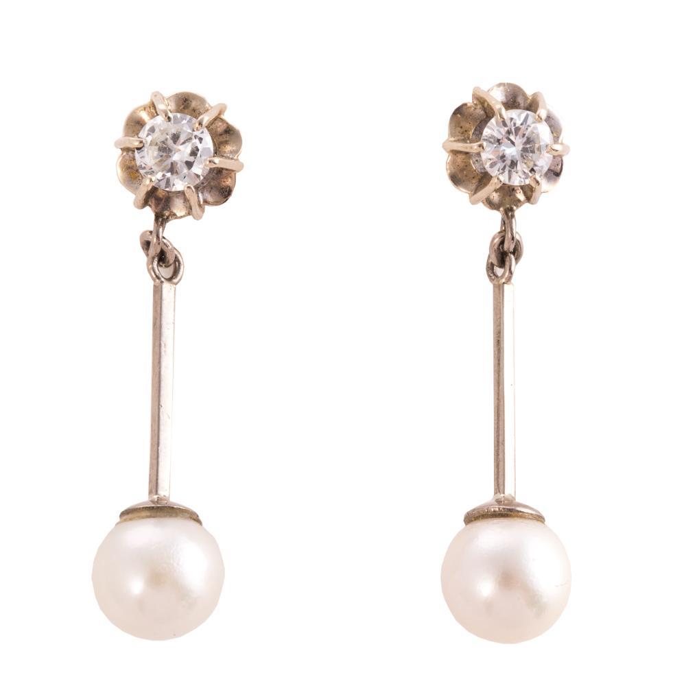 A Pair of Pearl & Diamond Dangle Earrings