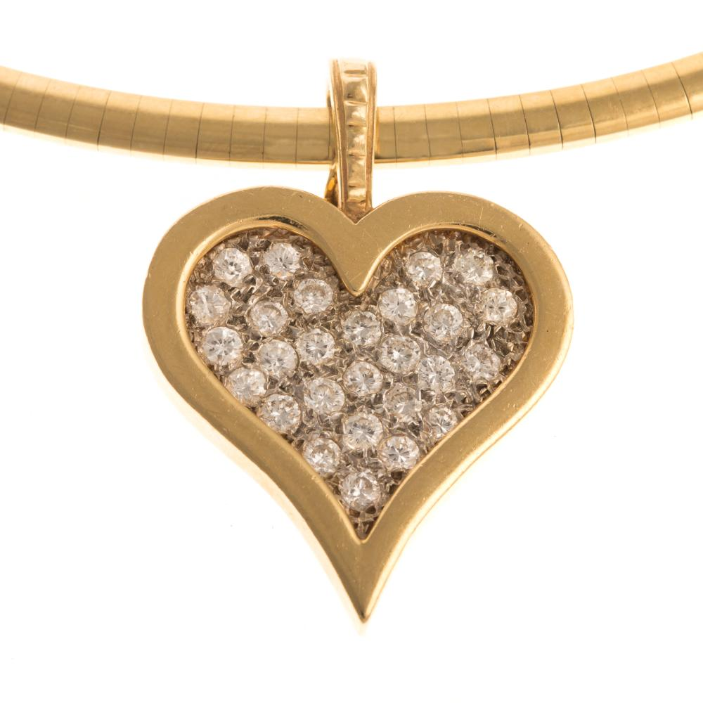 An Omega Necklace & Pave Diamond Heart in 14K