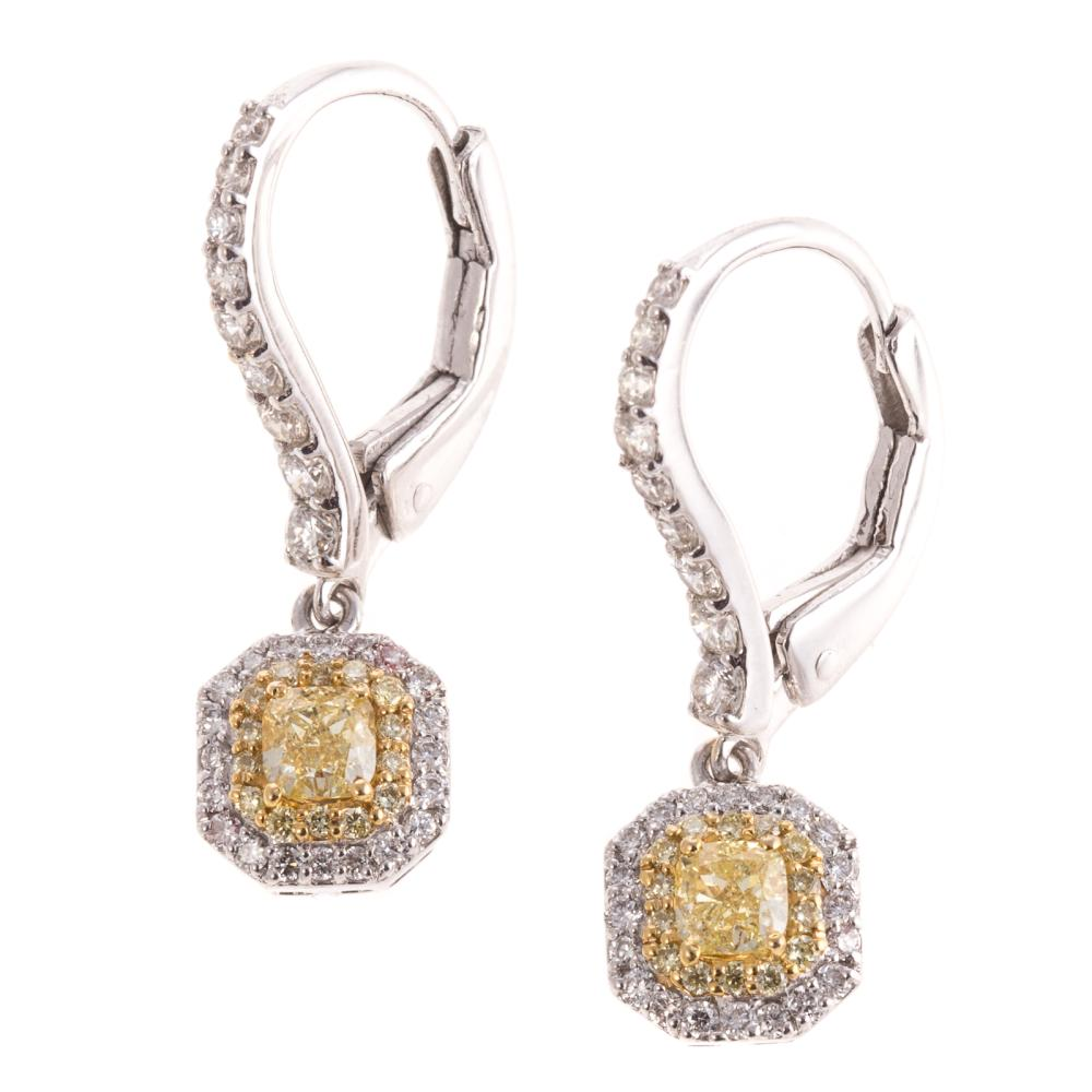 A Pair of Yellow Diamond Dangle Earrings in 18K