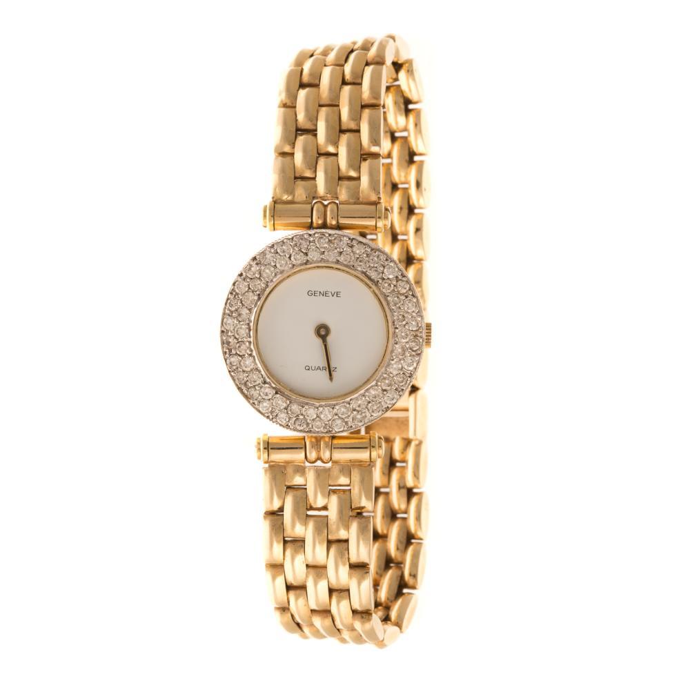 A Ladies Diamond Geneve Watch in 14K Gold