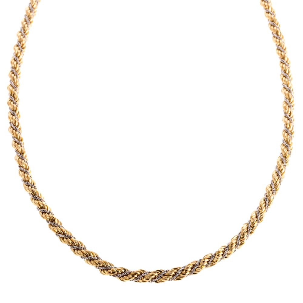 A 18K Two Tone 18 Inch Twisted Rope Chain