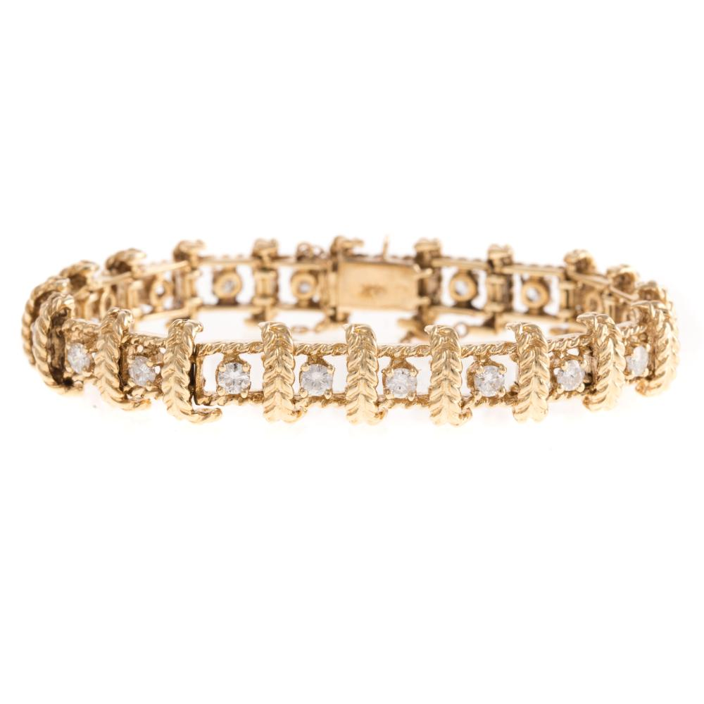 A 14K Diamond Link Bracelet with Rope Accent