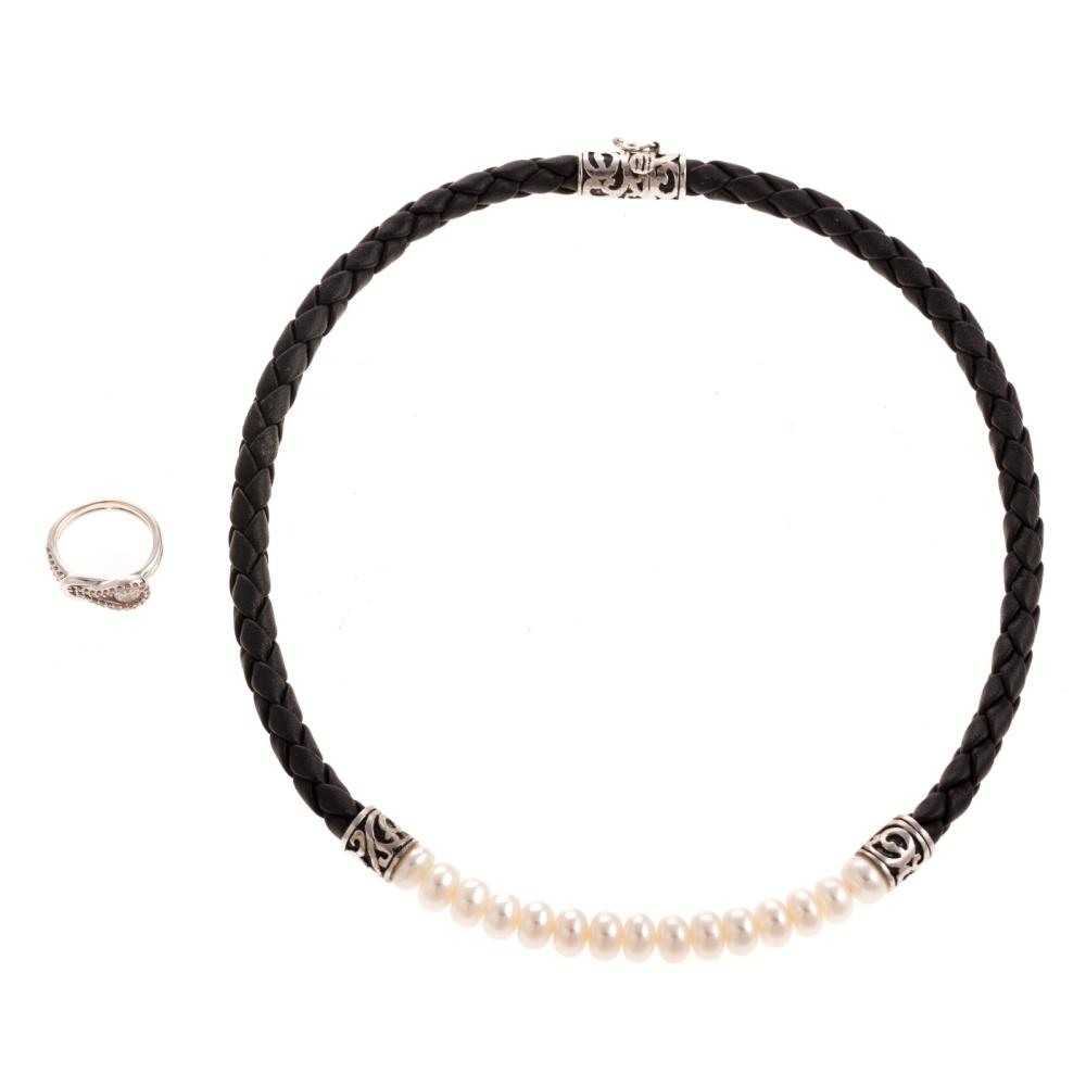 A Ladies Diamond Pinky Ring & Pearl Necklace