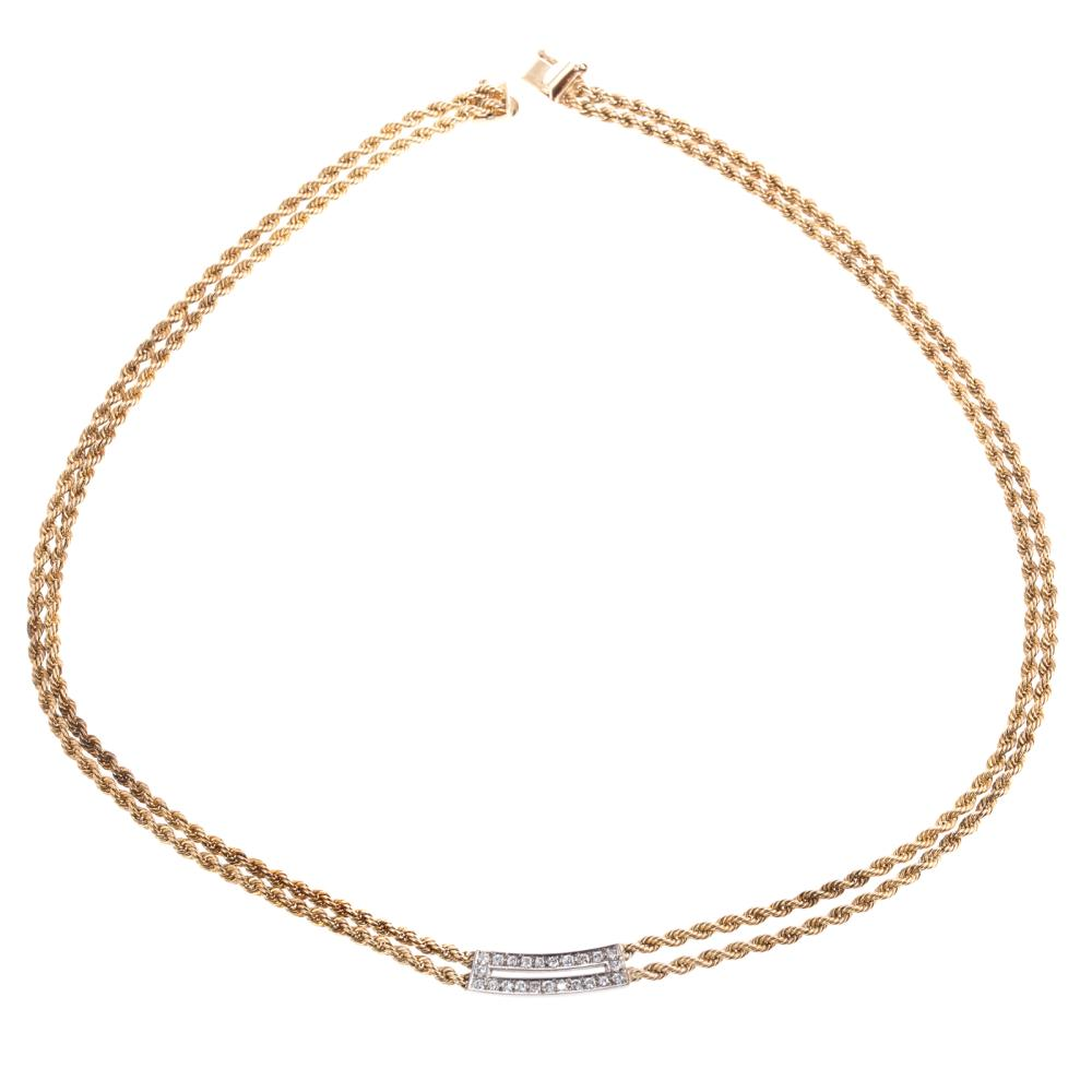A Ladies 14K Double Rope Chain with Diamond Center