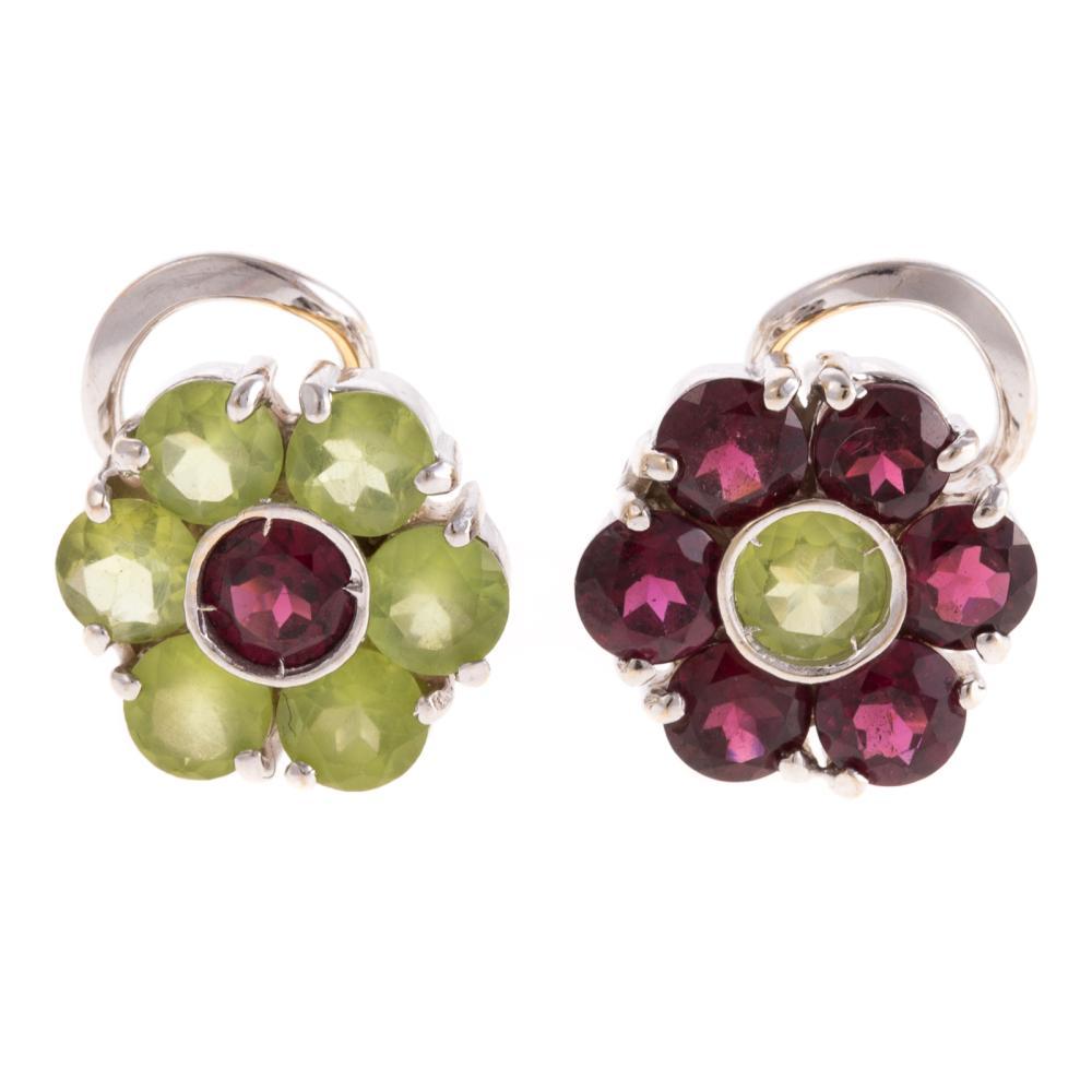 A Ladies Peridot & Garnet Flower Earrings in 18K