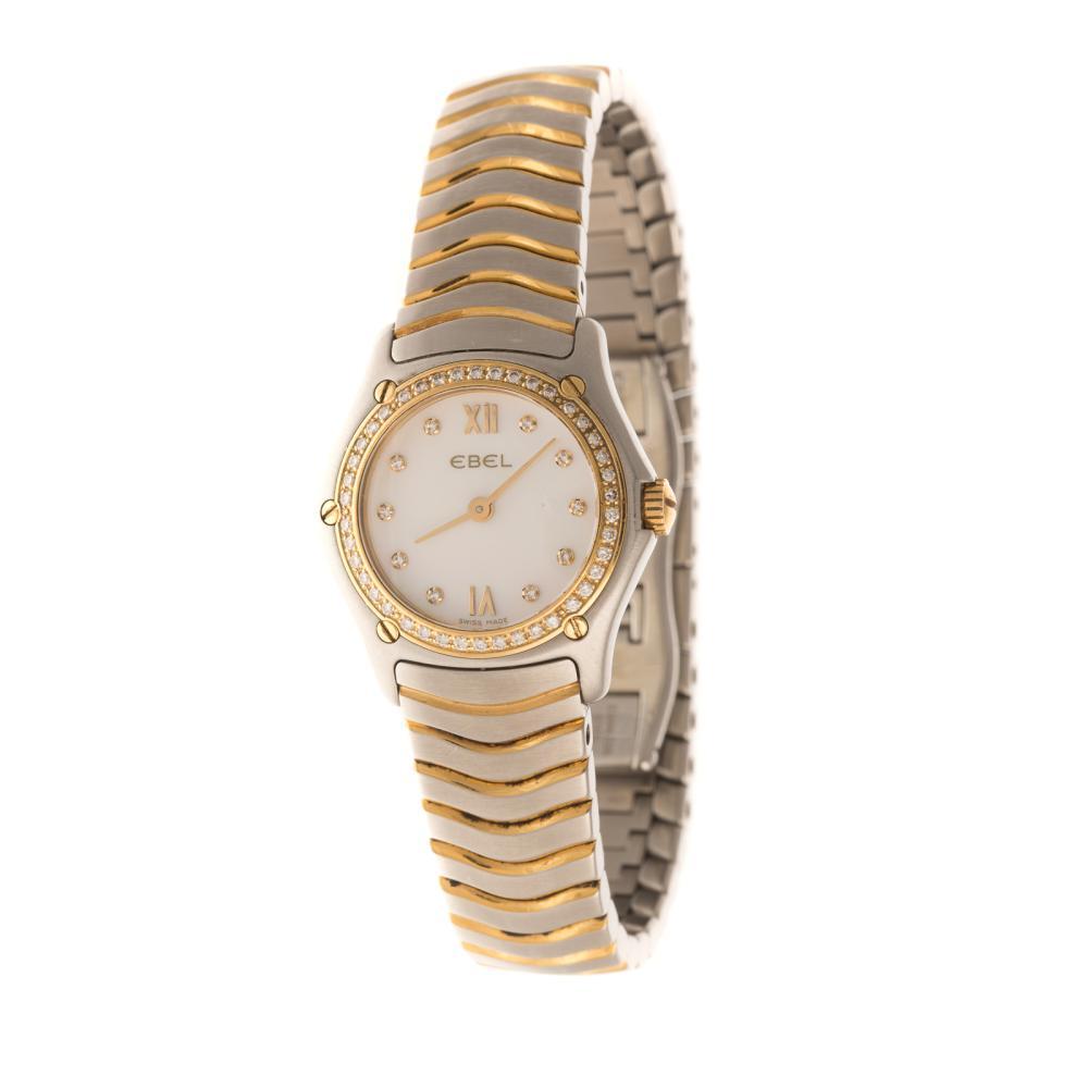 A Ladies Ebel Watch with Diamonds in 18K & Steel