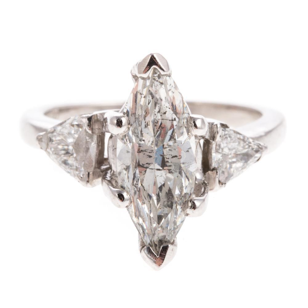 A Platinum 2.00ct Marquise Diamond Engagement Ring
