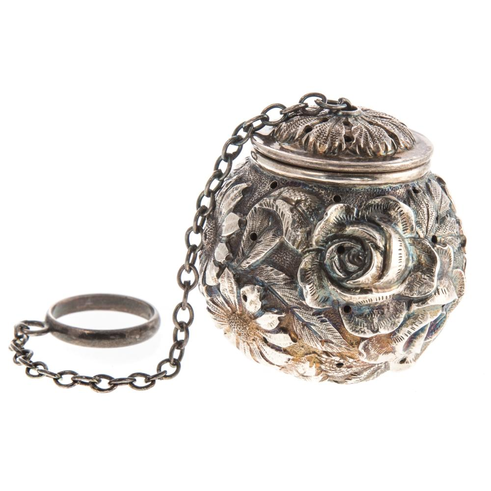 """Rare Stieff """"Rose"""" Repousse Sterling Tea Ball"""