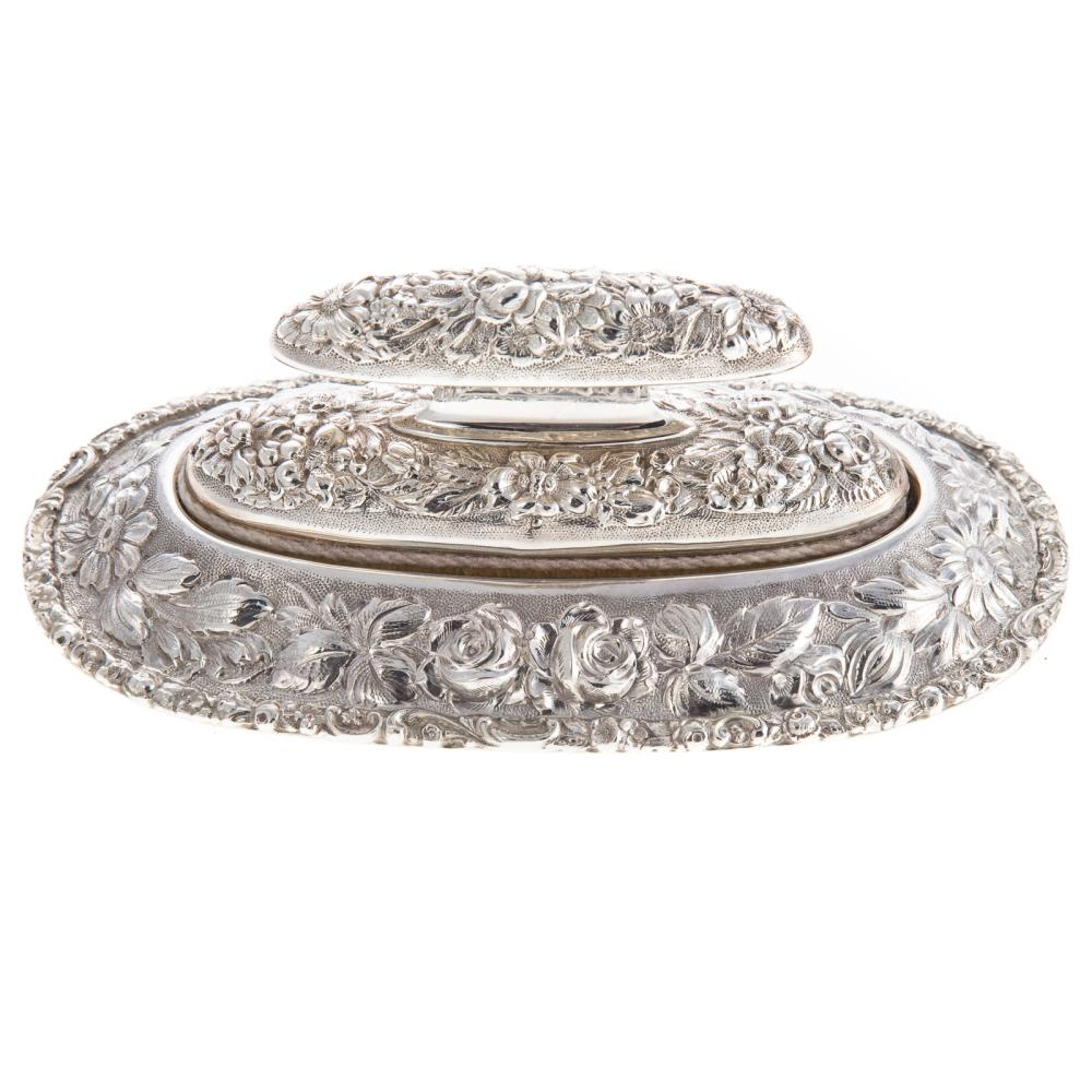 """Stieff """"Rose"""" Repousse Sterling Nail Buffer &Stand"""