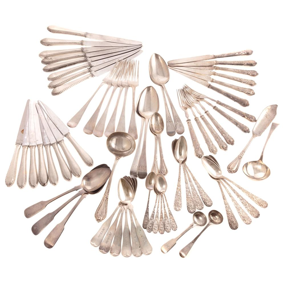 Large Collection of English & Amer Silver Flatware