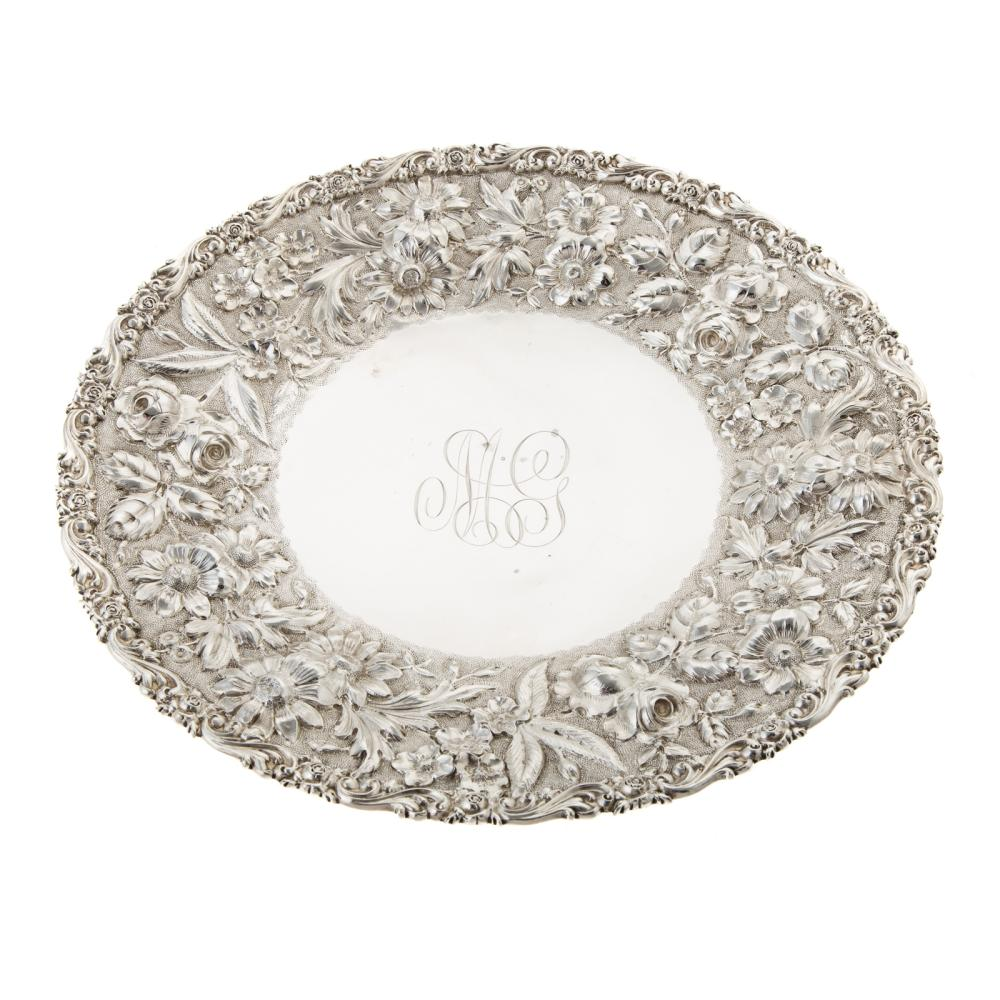 Early Baltimore Repousse Sterling Cake Plate