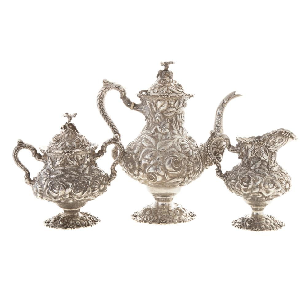 """Stieff """"Rose"""" Repousse Sterling 3-pc Coffee Set"""