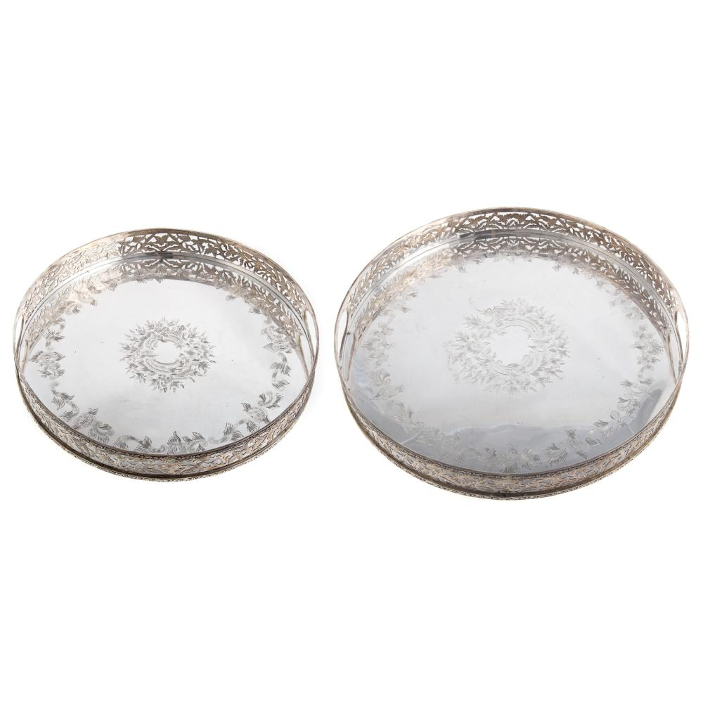 Pair Middle Eastern Silver Round Gallery Trays