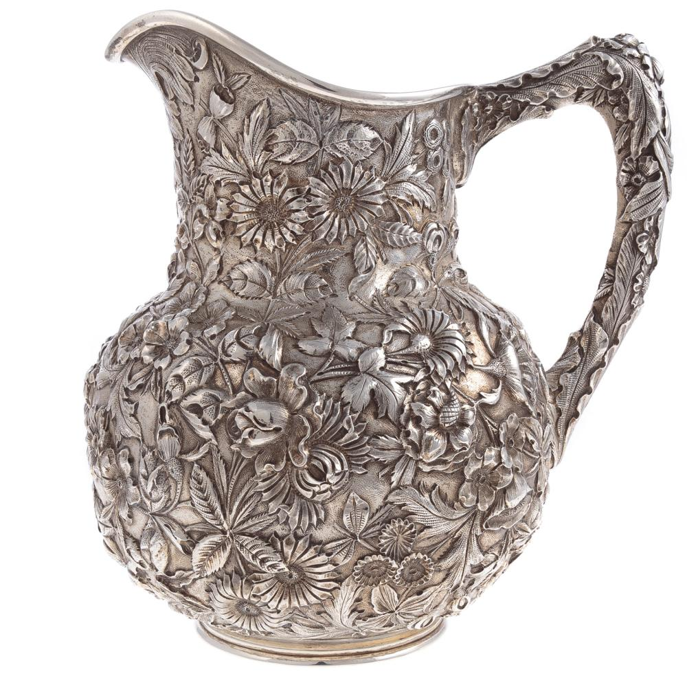 """Kirk """"Repousse"""" Sterling Water Pitcher"""