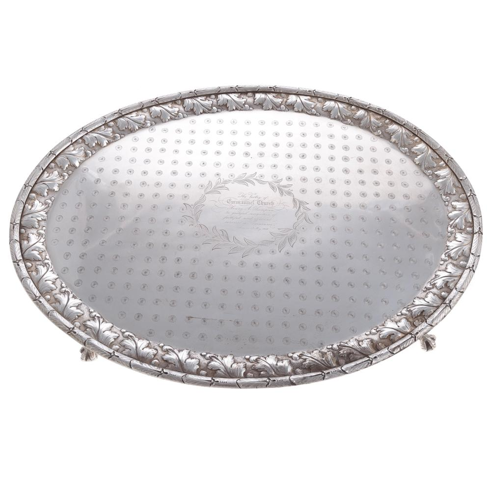 Kirk Coin Silver Oval Footed Presentation Tray