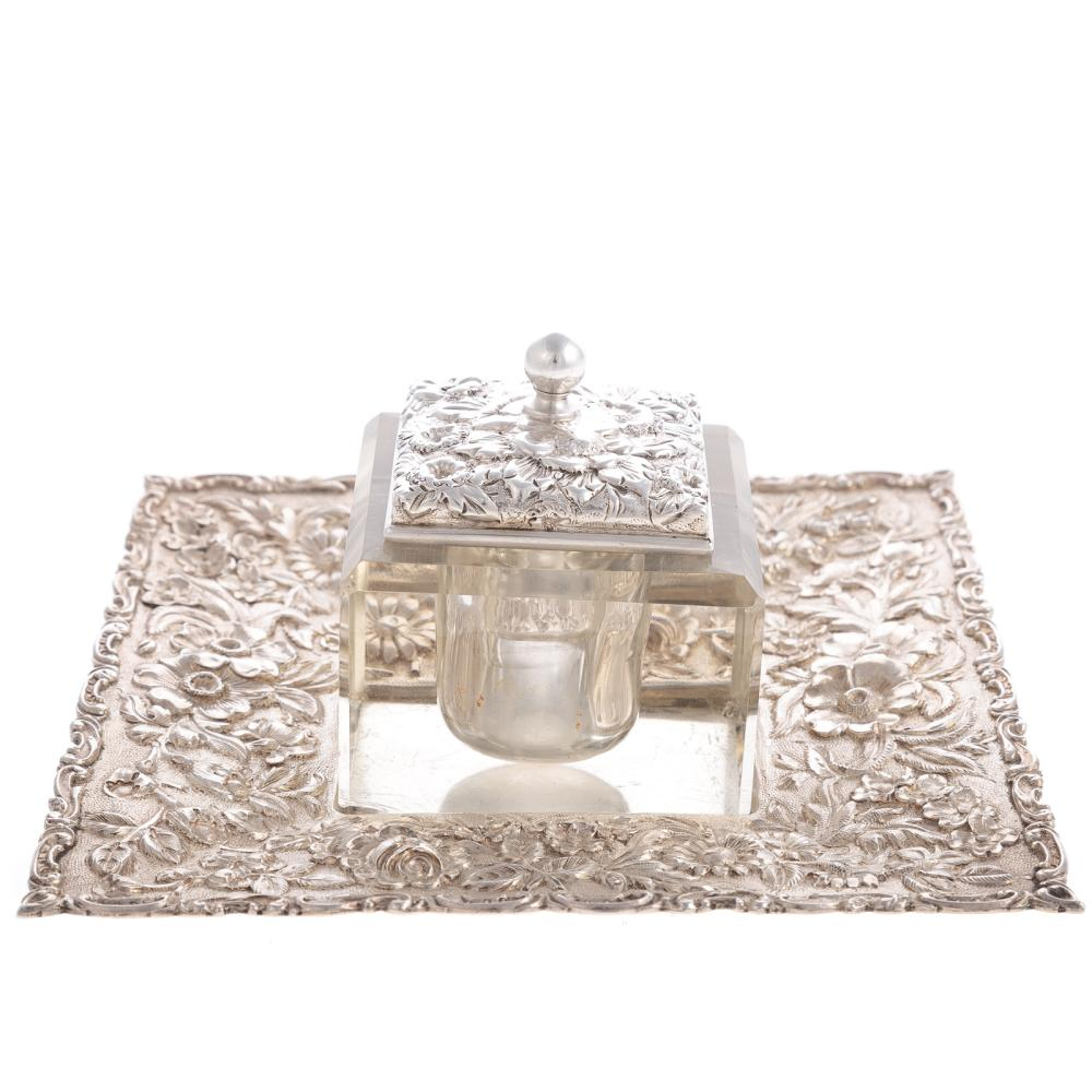 Jenkins & Jenkins Repousse Sterling Inkwell & Tray