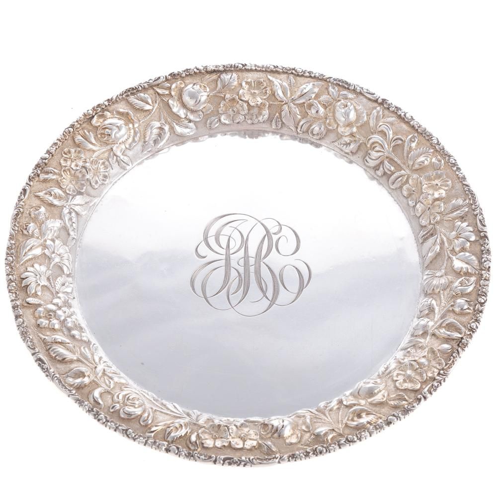 Early Baltimore Repousse Sterling Tray