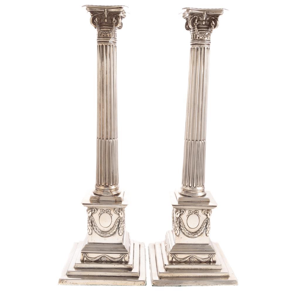 Pair George V Corinthian Style Sterl. Candlesticks