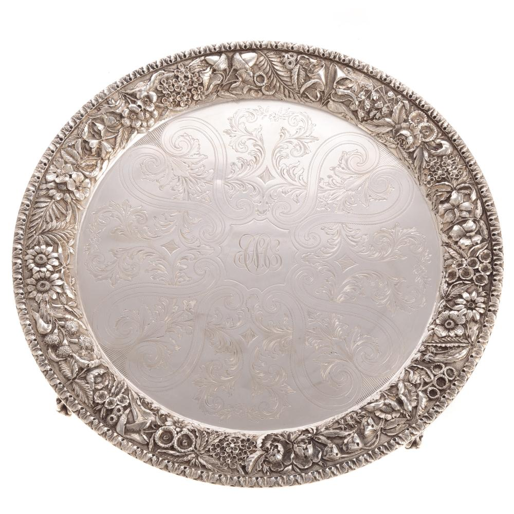 Attractive Kirk Repousse Sterling Waiter Tray