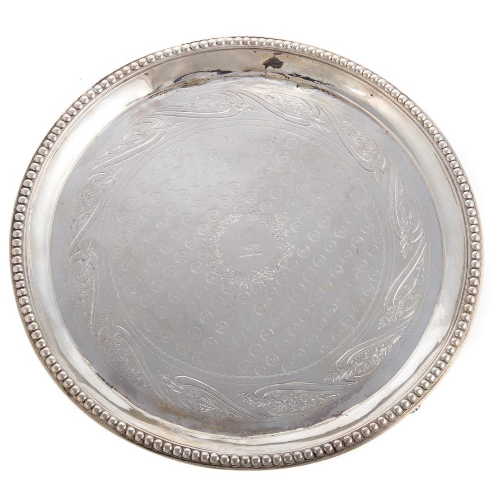 A. E. Warner Armorial Coin Silver Waiter Tray
