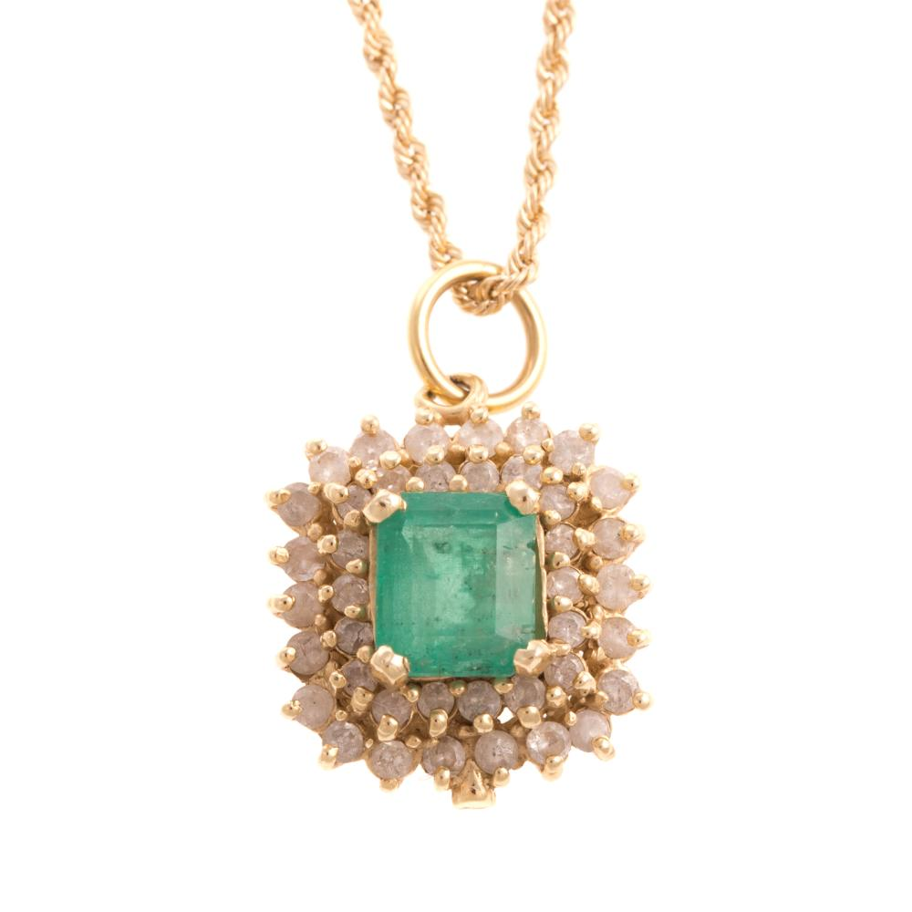 A Ladies Emerald and Diamond Necklace in 14K Gold