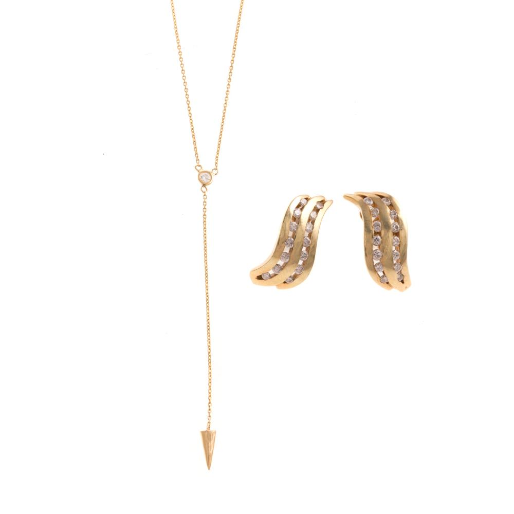 A Pair of Diamond Earrings & Necklace in 14K Gold