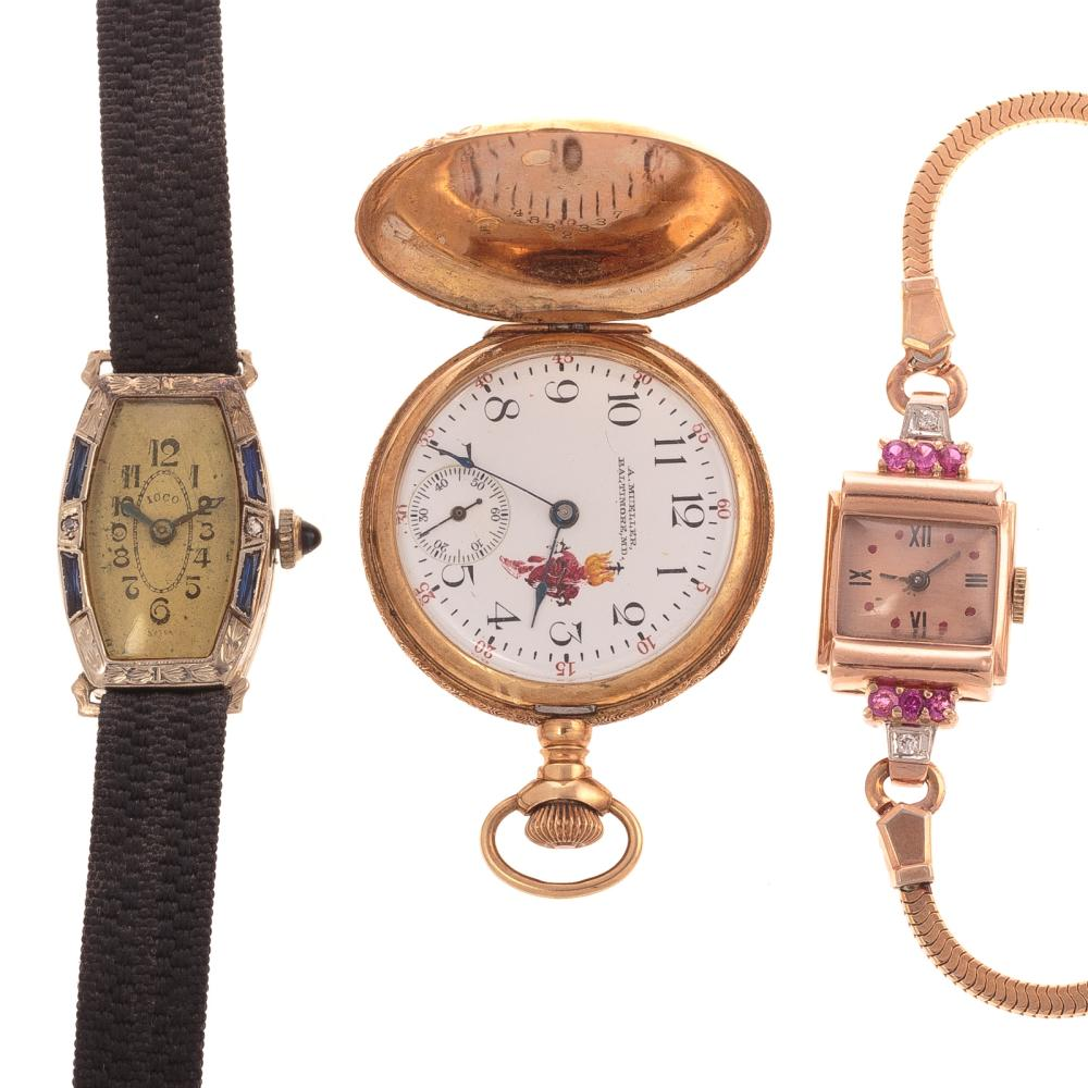 Two Ladies Wrist Watches & Pendant Watch in 14K