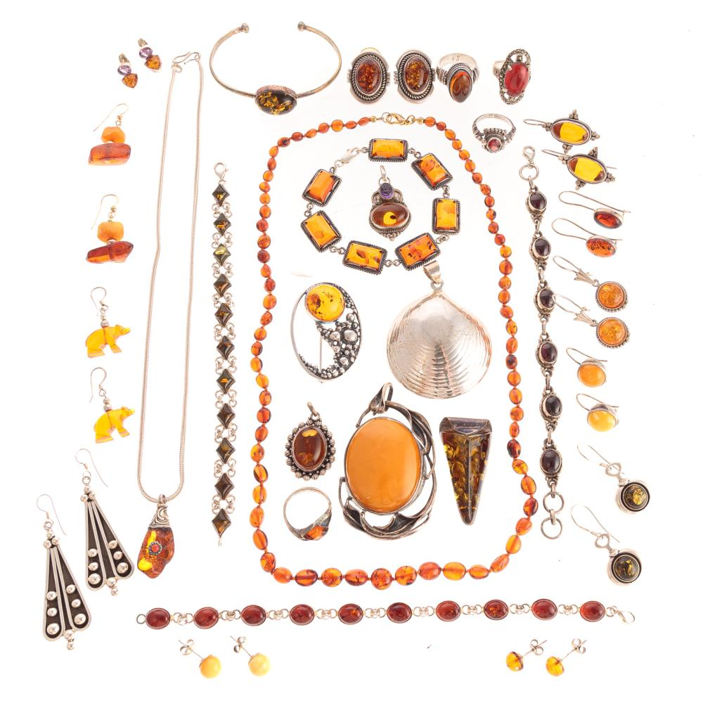 A Collection of Amber Jewelry in Silver
