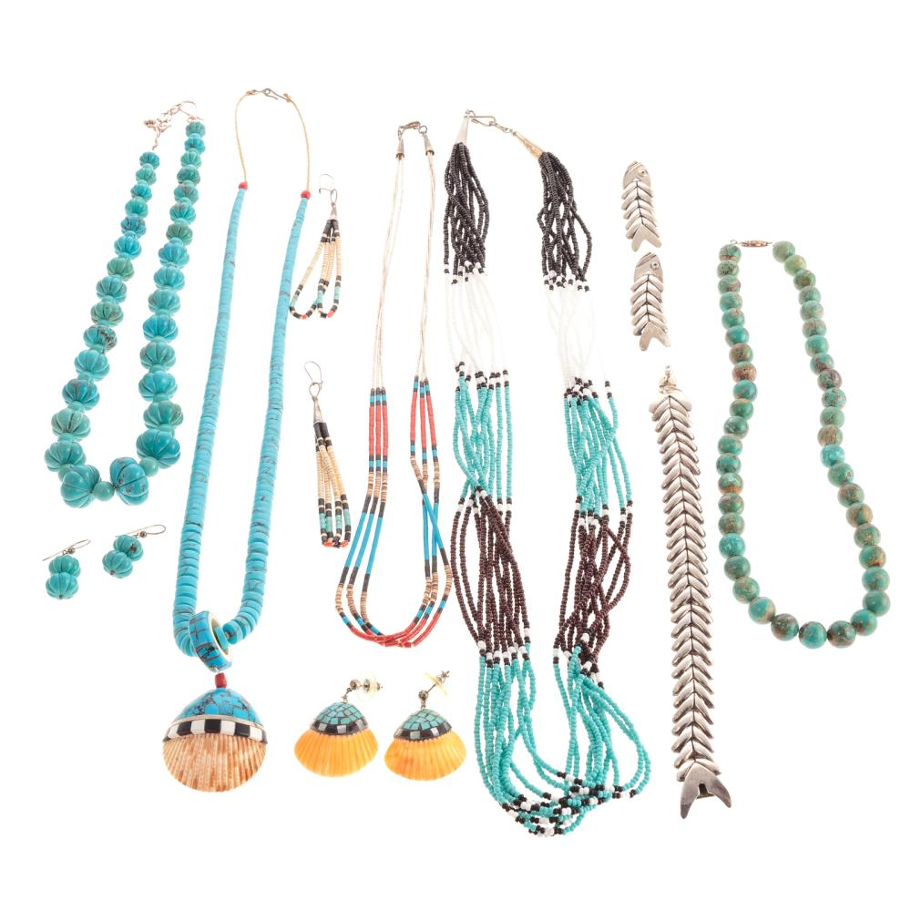 A Collection of Turquoise & Sterling Jewelry