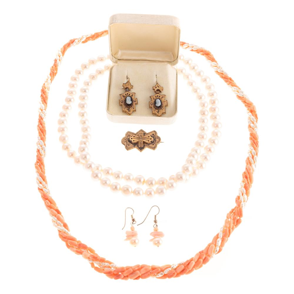 A Victorian Set in 9K along with Coral & Pearls