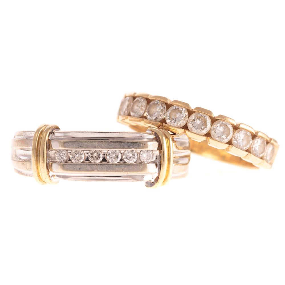 Two Ladies Diamond Bands in 14K Gold