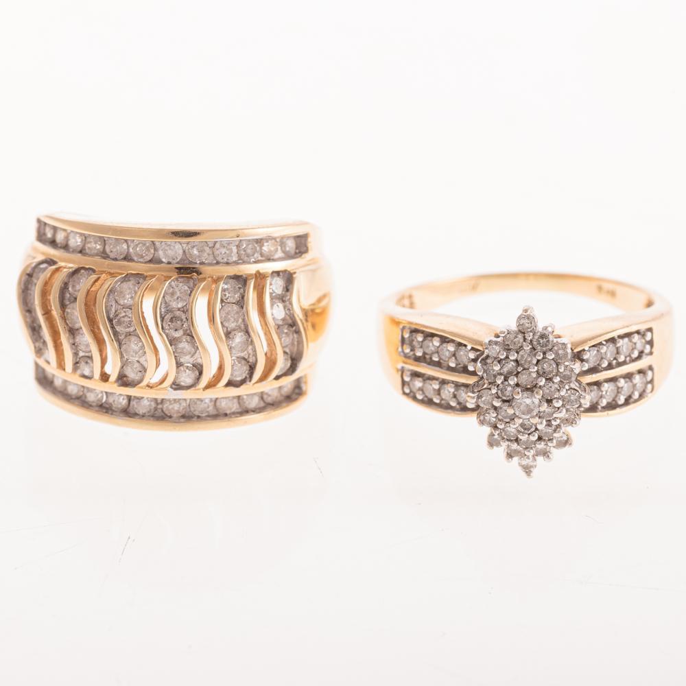 Two Ladies Diamond Rings in 14K Gold