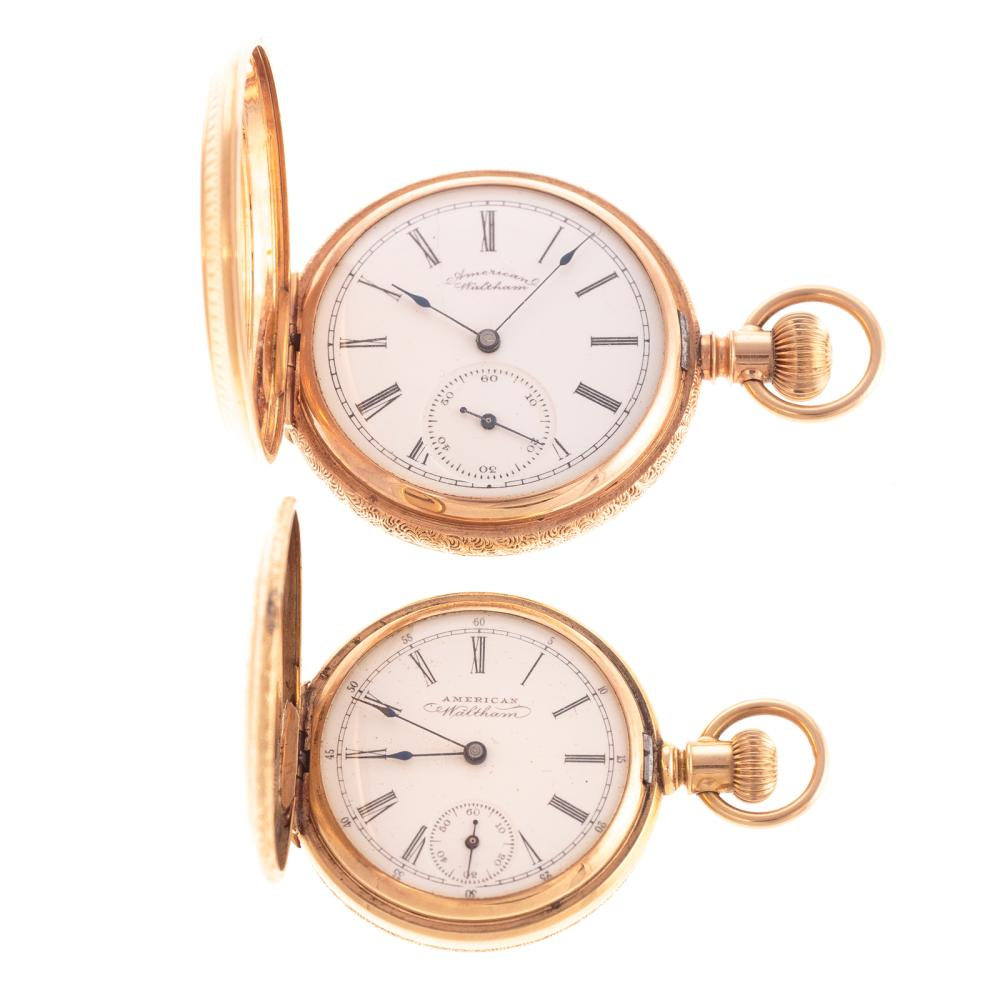 Two Waltham Pocket Watches in 14K Gold