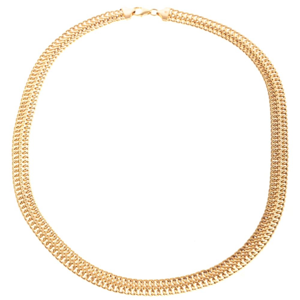 A Ladies Flat Braided Necklace in 14K Gold