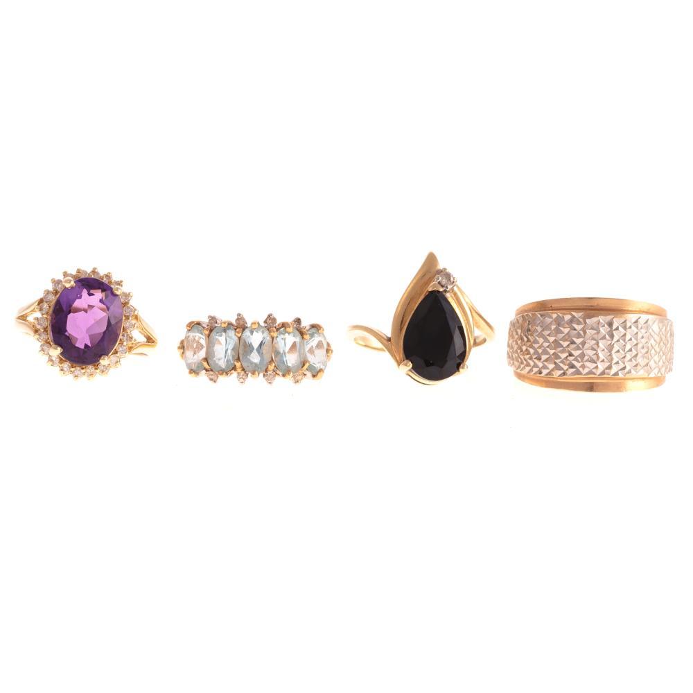 Four Ladies Gemstone Rings in 14K Gold