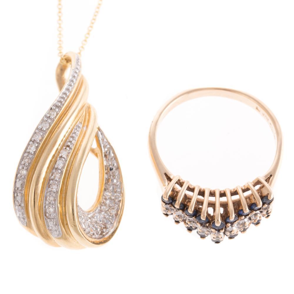 A Diamond Pendant & Sapphire & Diamond Ring
