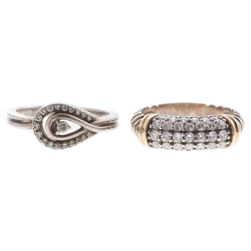 Two Ladies Diamond Rings in Sterling Silver