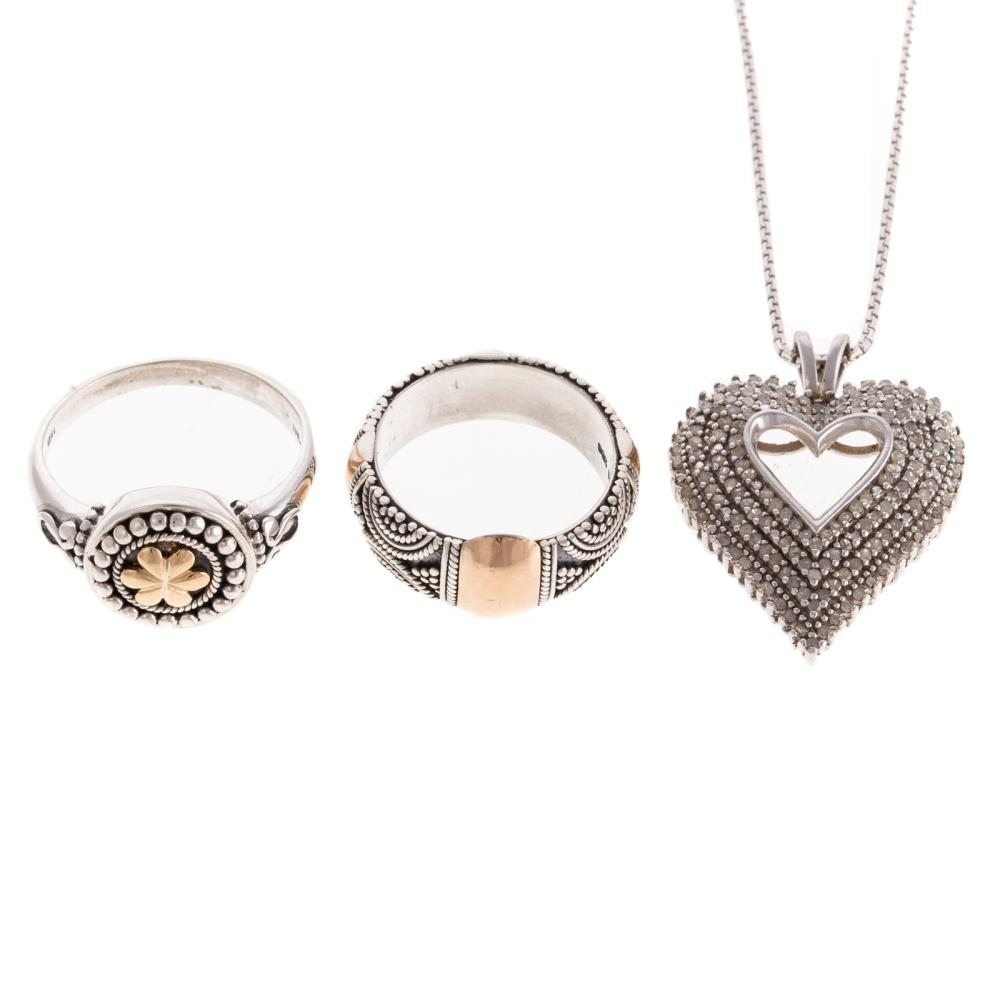 Sterling Silver Jewelry with Diamonds & 18K Gold