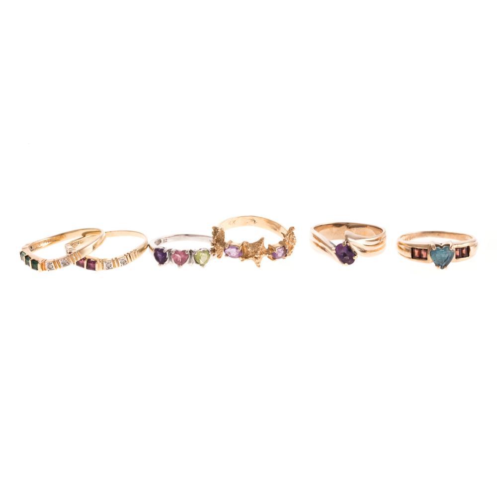 Six Ladies Gemstone Rings in 14K Gold